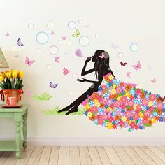 Pawpaw Pink Girl Wall Stickers Home Decor PVC Flower Skirt Wall Paper Room House Decoration Removable hubble-bubble Vinyl Wall