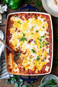 This easy Stuffed Pepper Casserole recipe is a perfect weeknight dinner! The comforting, flavorful meal includes ground beef, Italian sausage, sweet bell peppers, tender white rice, and plenty of cheese in a zesty Italian tomato sauce. Serve the healthy dish with a simple green salad and a loaf of crusty bread for a family-friendly, make-ahead supper that's ready in less than an hour! This easy casserole is such a fun twist on classic Stuffed Peppers. In fact, my boys love the undone, deconstruc
