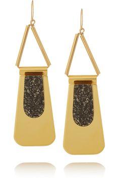 Marni|Gold-plated pyrite earrings|NET-A-PORTER.COM