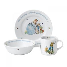 Wedgwood Peter Rabbit Boy's Plate, Bowl & Mug Set. Available at Waterford Wedgwood Royal Doulton, Tanger Outlets in San Marcos, TX or call We ship! Peter Rabbit Nursery, Peter Rabbit Party, Kids Dinner Sets, Beatrice Potter, Rabbit Illustration, Kids Plates, Rabbit Baby, Blue Gift, Dinnerware Sets