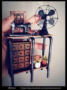 fairy miniature fan, sewing machine, cabinet | fairiehollow.com