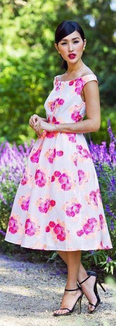 White floral off the shoulder dress