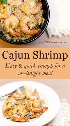 Cajun Shrimp with Rice is a great weeknight meal. It comes together quickly, is really tasty, and is nice and healthy.