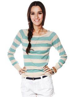 Stripe round neck sweater $12.99  #stripe #sweater #knit