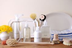 The bottles come blank, with several labels included for you to affix yourself. Shower Bottles : I can't wait until our new shower is tiled and completed. This set of four bottles will look so great a