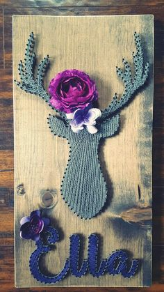 String Art- nails, stained wood, grey, purple, deer, flowers, name, little girls room, custom art work Made By: Jennifer MacLeod Schutt
