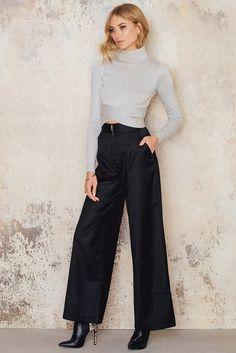 Disciplined High Split Wide Leg Pants For Women 2017 New Autumn Winter Elegant Office Trousers Black Casual Long Trousers Femme Hot Women's Clothing