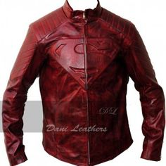 SUPERMAN SMALLVILLE Distressed RED LEATHER JACKET