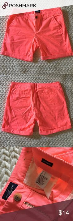 Size 12 American Eagle Bermuda Shorts! Size 12 American Eagle Bermuda Stretch Shorts! Worn once! The pink color is a pink with a hint of coral! Comes from a smoke free home! American Eagle Outfitters Shorts Bermudas