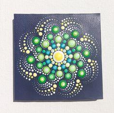 Originele kleine Mandala schilderij op Canvas, schilderij, kantoor en thuis sieraad Henna kunst cadeau Dotilism Dotart, blauwe mandala