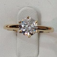 3 Carat Solitaire Cubic Zirconia and Gold Engagement Ring - 14K (Yello – CZ Sparkle Jewelry®