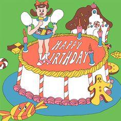 Wakana Yamazaki birthday cake 2014 Source by . Birthday Cake Illustration, Fashion Wall Art, Ad Art, Illustrations And Posters, Cute Art, Art Sketches, Vector Art, Character Design, Illustration Art