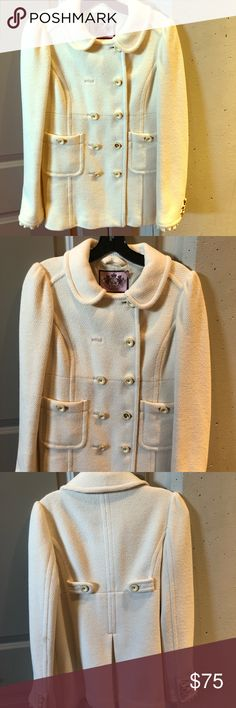 Juicy Couture white winter coat Juicy Couture white winter coat. One missing button in the front as seen in pictures and small stain on elbow seen in last picture. Feel free to make me an offer. Thanks for shopping my closet. Juicy Couture Jackets & Coats Pea Coats