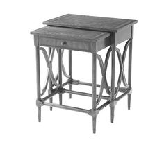 """Nest of two tables, Rectangular Banded tops, Turned legs with brass cappings, Wavy """"X"""" stretchers to the sides, Smaller table with a frieze drawer"""