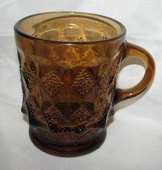 Fire King Anchor Hocking Dark Amber KIMBERLY Oven Proof Mug