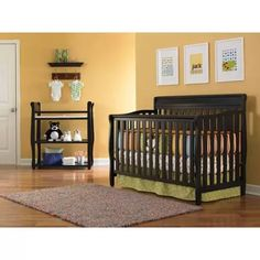 Graco Stanton 4-in-1 Convertible Fixed-Side Classic Crib, Black