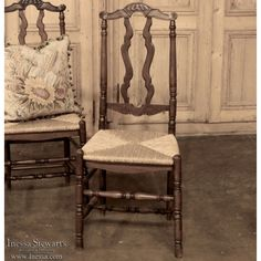 Antique Country French Rush Seat Chair | www.inessa.com