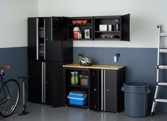 Sleek Steel Cabinets garage Tall Cabinet Storage, Locker Storage, Rolling Storage, Storage Rack, Storage Shelves, Storage Spaces, Garage Organization, Organization Ideas, Organizing