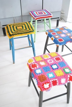 Grannies, grannies everywhere. Crochet granny square stool covers.