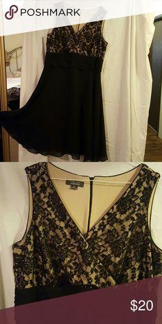 Black dress Black dress with beaded lace top Dress Barn Dresses Midi