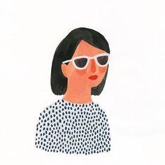 Female whimsical illustration by Kate Pugsley.