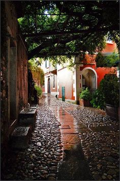 Verbania, Italy. I love the way streets look after it's rained... <3