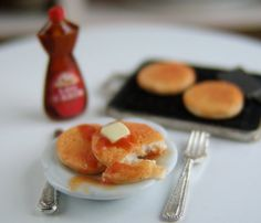 Dollhouse Miniature Pancake Set with Griddle Syrup and more  by mousemarket, $31.00