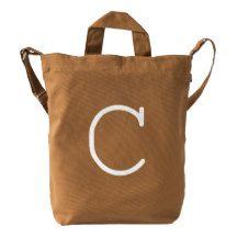 Custom Letter C Initial Monogram BAGGU Duck Bag Duck Canvas Bag