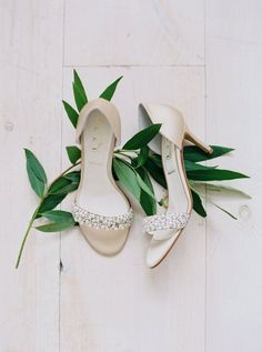 Pearl beaded wedding shoes: http://www.stylemepretty.com/texas-weddings/quinlan-texas/2016/01/07/ethereal-elegant-wedding-inspiration-at-the-white-sparrow-barn/ | Photography: Jessica Gold - http://www.jessicagoldphotography.com/