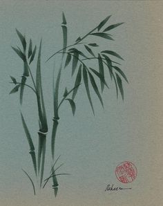 Ethereal  Original Ink Brush Sumie Bamboo Painting on Vintage