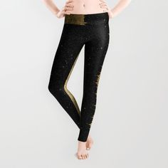 ebbb4a39b Buy Faux Gold   Black Starry Night Brushstrokes Leggings by  blackstrawberry. Worldwide shipping available at