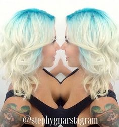 Blonde hair with blue roots Hair Color 2016, Cool Hair Color, Hair Colour, Green Hair, Blue Hair, Navy Hair, Bright Hair, Colorful Hair, Blonde Hair With Roots