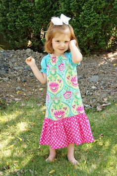 Girls Short Sleeve Peasant Dress with Large by SewManyRuffles, $35.00