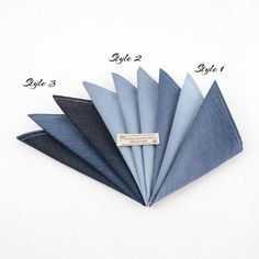 Beautiful and perfectly finished navyblue gradient cotton handkerchief. Available in 3 designs and 3 sizes.  Limited edition no more than 5 pieces/sets on each design.   Fabric : 100% Cotton  Dimensions : 11 inch, 13 inch and 15 inch.  We also have matched bowtie which has different colours on each side so you can get two different finishings out of one pair.