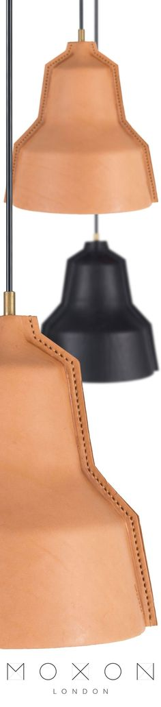 Hand stitched leather lamp shades with brass fittings from MOXON London. These beautiful leather lamps have been hand crafted by artisans using the finest leather. Available in natural tan and black leather. Wooden Lampshade, Rustic Lamps, Leather Projects, Stitching Leather, Vintage Lamps, Leather Furniture, Lamp Shades, Leather Design, Brass Lamp