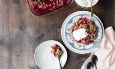 Feijoia, pear and raspberry crumble