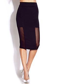 Bold Mesh Midi Black Skirt.