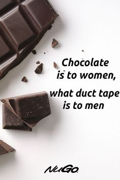 Chocolate is to women what duct tape is to men. It fixes everything. Cacao Chocolate, Healthy Chocolate, Chocolate Quotes, Chocolate Coating, Sugar Rush, Protein Bars, Duct Tape, Food Cravings, Health Benefits