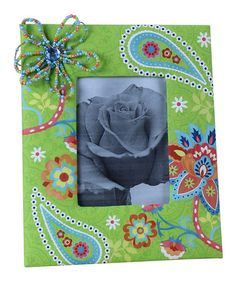 Take a look at this Green Bead Flower Fabric Photo Frame by Young's on #zulily today!