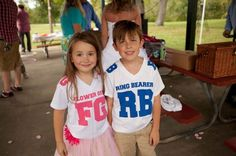 Flower girl and ring bearer custom jerseys :) Cute...  not for the ceremony, but as a gift or something?