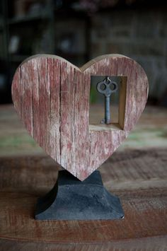Rustic Wood Heart w/ Offset Dangled Key Key to My by HopperRoad