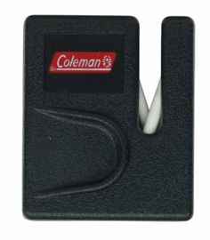 """Coleman Camp Sharpener I (Small) by Coleman. $6.07. weighs 0.5 oz. (13 g). Sharpening Rods are Ceramic. 2"""" by 1 3/4"""" (5 cm by 4.4 cm) actual product dimensions. Plastic Handle with thumb slot. Coleman pocket sharpener. The Coleman Camp Sharpener I is a easy to use plastic sharpener that utilizes ceramic sharpening rods.. Save 42%!"""