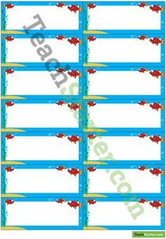 Desk Name Tags - Fish | Teach Starter - Teaching Resources Classroom Name Tags, Desk Name Tags, Page Borders, Head Start, Teaching Resources, Names, Fish, Organization, Desk Name Plates