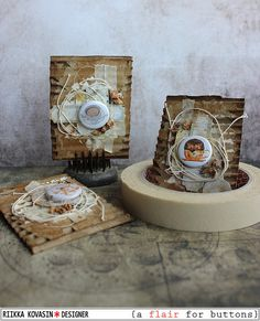 Riikka Kovasin - Paperiliitin: Hug in a cup - a set of tea ATCs - A Flair for Buttons