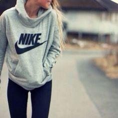 Nike hoodie and leggings :-)