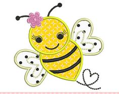 Bumble Bee with flower-Bumble Bee 03 by CherryStitchDesign on Etsy
