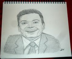 JIMMY FALLON/ GRAPHITE DRAWING SIGNED BY ARTIST   BW  #Realism