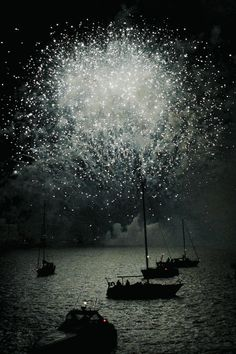 Celebratory sky-New Year's on the Stavanger Harbor, Norway
