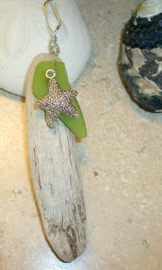 Driftwood, sea glass and starfish