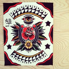 11x14 Traditional Horseshoe Rose Tattoo Flash Print